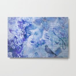 Lost Moments Woman Nostalgic Portrait In Shades Of Blue Metal Print