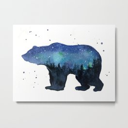 Forest Bear Silhouette Watercolor Galaxy Metal Print
