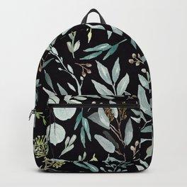 Black Eucalyptus Pattern Backpack