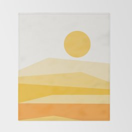 Abstract Landscape 09 Yellow Throw Blanket