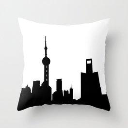 shanghai city skyline Throw Pillow