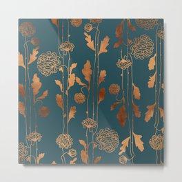 Art Deco Copper Flowers  Metal Print