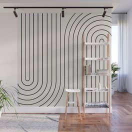 Minimal Line Curvature - Black and White I Wall Mural