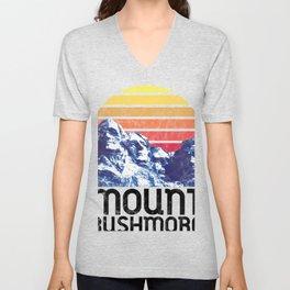 Mount Rushmore Shirt Black Hills South Dakota National Park USA Retro Monument  Unisex V-Neck