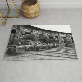 Old steam locomotive in the depot ZUG011CBx Le France black and white fine art photography by Ksavera Rug