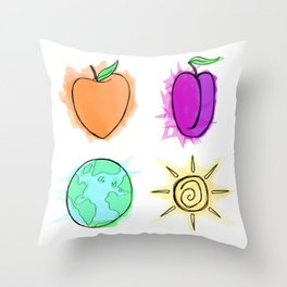 Peach, Plum, Earth, Sun Throw Pillow