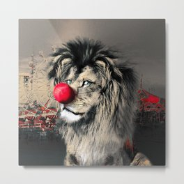 Circus Lion Clown Metal Print