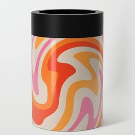 70s Retro Swirl Color Abstract Can Cooler