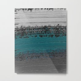 Teal and Gray Abstract Metal Print