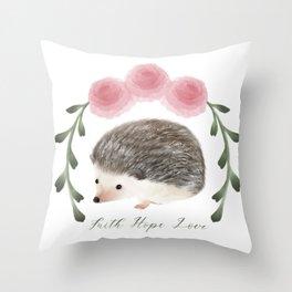 Faith, Hope, and Love Hedgehog Throw Pillow
