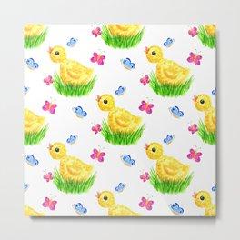 Chicken and butterflies Metal Print