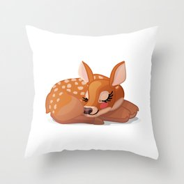Cute fawn Red deer (Cervus Elaphus). Sleeping baby bambi Throw Pillow