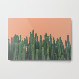 Orange Sky Cactus - Pop Art Metal Print