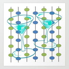 Mid-Century Modern Atomic Art Cocktails 1.0 Art Print