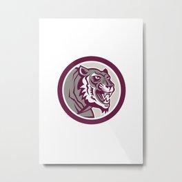 Tiger Head Growling Side Circle Retro Metal Print