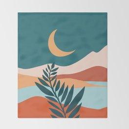 Moonlit Mediterranean / Maximal Mountain Landscape Throw Blanket
