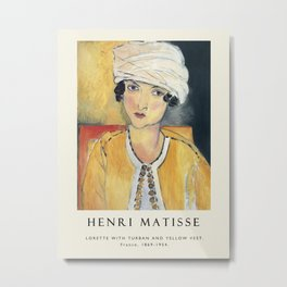 Vintage poster-Henri Matisse-Lorette with turban and yellow vest. Metal Print