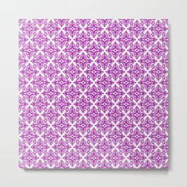 Damask (Purple & White Pattern) Metal Print