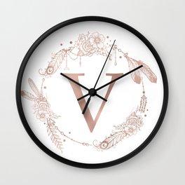 Letter V Rose Gold Pink Initial Monogram Wall Clock