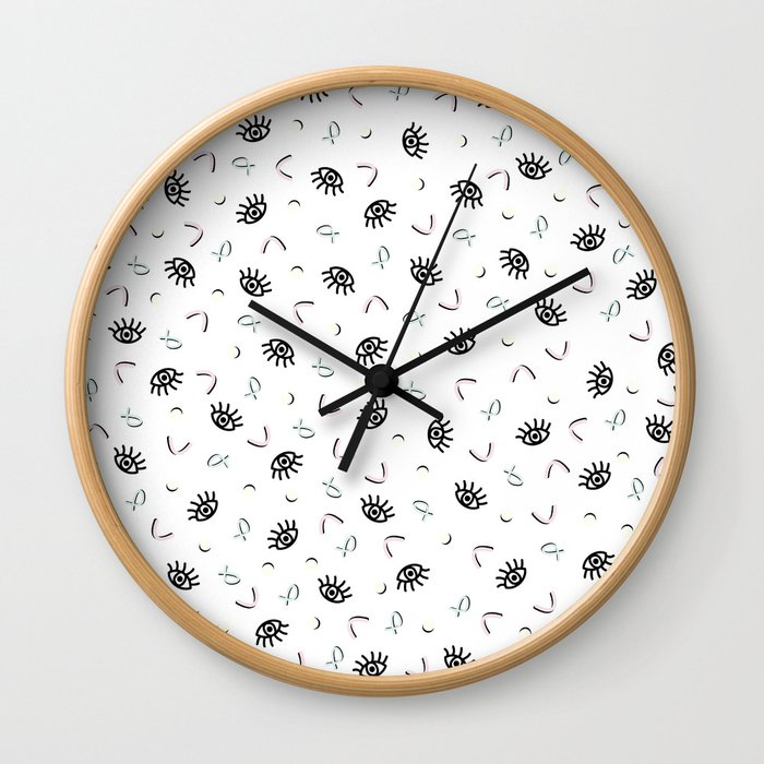 Eye Spy - Funky Memphis 80's Pattern Wall Clock