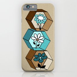 Cute Daisy Flowers in Hexagons - Turquoise, Brown, Khaki, Black and White iPhone Case