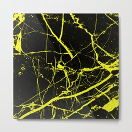 Yellow Marble Pattern - Abstract, black and yellow Metal Print