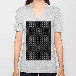 Pantone Pewter Gray Thin Line Stripe Grid (Pinstripe) and Polka Dots on Black Unisex V-Neck
