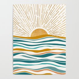 The Sun and The Sea - Gold and Teal Poster