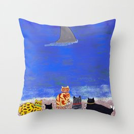 Cats on the Beach Throw Pillow