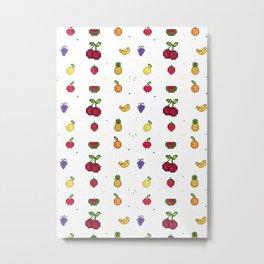 8Bit Fruits Metal Print