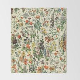 Adolphe Millot Vintage Fleurs Flower 1909 Throw Blanket