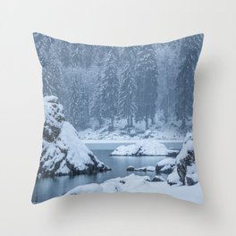 Heavy snow fall lake Fusine, Italy Throw Pillow