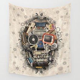 retro tech skull 2 Wall Tapestry