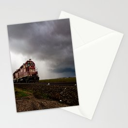 Last Train - Locomotive Emerges from Storm in Oklahoma Stationery Cards