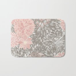 Floral Pattern Dahlias, Blush Pink, Gray, White Bath Mat