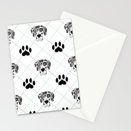 Merle Great Dane Paw Print Pattern Stationery Cards