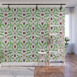 Ladybugs & Daisies - Cute Floral Bug Pattern with Ladybirds Wall Mural