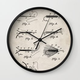 Fly Fishing Patent - Fisherman Art - Antique Wall Clock