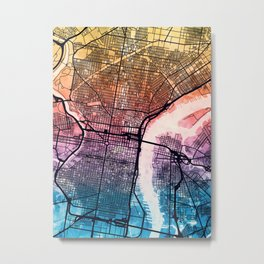 Philadelphia Pennsylvania Street Map Metal Print