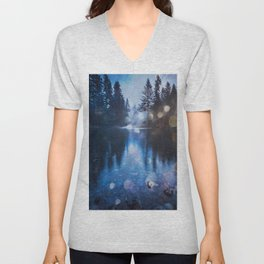 Magical Blue Forest Water Reflection - Nature Photography Unisex V-Neck