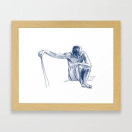 Male Model figure drawing Framed Art Print