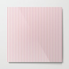 Mattress Ticking Narrow Striped USA Flag Red and White Metal Print