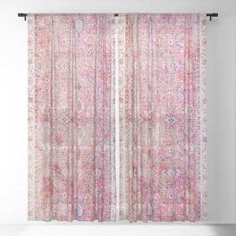 Pink Vintage Antique Oriental Traditional Moroccan Original Artwork Sheer Curtain
