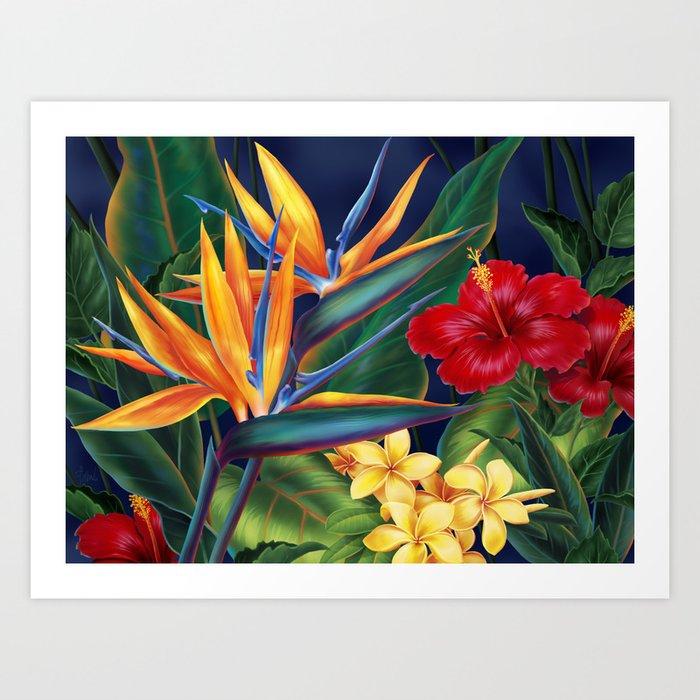 Tropical Paradise Hawaiian Floral Illustration Kunstdrucke