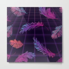 Synthwave Palm Leaves Metal Print