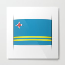 Flag of Aruba.  The slit in the paper with shadows. Metal Print