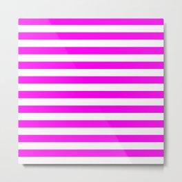 Stripes (Magenta & White Pattern) Metal Print