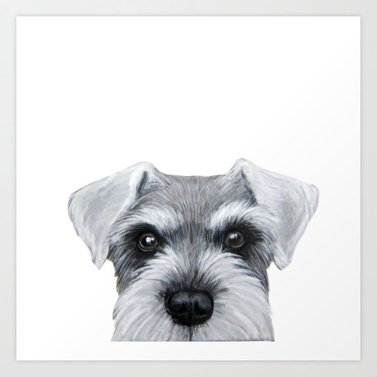 Schnauzer Grey&white, Dog illustration original painting print by miartdesigncreation