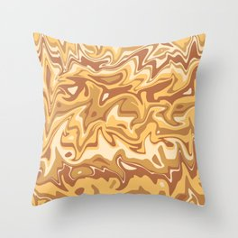 Marbled Apricot and Caramel Throw Pillow