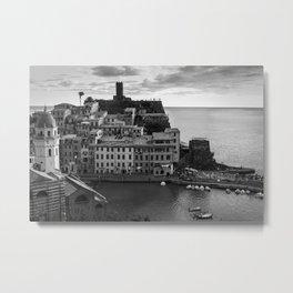 Vernazza, Black and White Metal Print